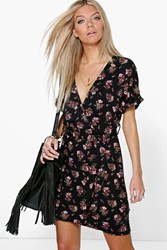 Boohoo Floral Batwing Wrap Tie Waist Dress Multi