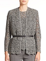 Escada Belted Floral Lace Knit Jacket Grey