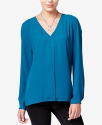 Bar Iii Long Sleeve V Neck Blouse Only At Macy's Rainforest Teal