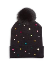 House Of Lafayette Milou 2 Faux Pearl And Fox Fur Pom Pom Beanie Black
