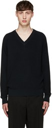 Christophe Lemaire Navy V Neck Sweater