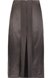 Iris And Ink Split Front Silk Satin Midi Skirt Charcoal