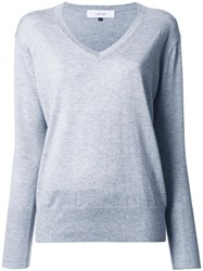 Le Ciel Bleu V Neck Knit Blouse Grey