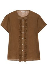 Emilio Pucci Ruffled Cotton And Silk Blend Top Brown