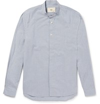 Folk Slim Fit Grandad Collar Striped Cotton Shirt Blue