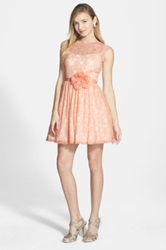 Way In 'Carrie' Lace Skater Dress With Flower Sash Juniors Pink