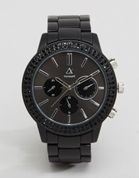 Asos Bracelet Watch With Black Crystals Black