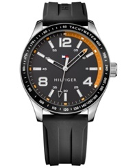 Tommy Hilfiger Men's Black Rubber Strap Watch 44Mm 1791173 No Color