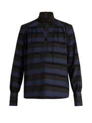 Rachel Comey High Neck Cut Out Front Chenille Striped Top Dark Blue