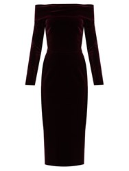 Emilio De La Morena Tasman Off The Shoulder Velvet Dress Burgundy
