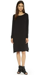 Vince Tee Dress With Faux Leather Trim Black