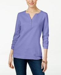 Karen Scott Long Sleeve Henley Top Only At Macy's Purple Bliss