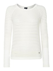 Armani Jeans Long Sleeve Sheer Stripe Jumper White