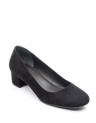 Bernardo Low Block Heel Pumps Black Suede