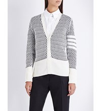 Thom Browne Knitted Net Cotton And Cashmere Blend Cardigan White