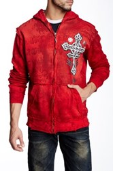 Affliction Tronic Black Zip Front Hoodie Red
