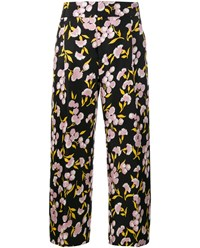 Marni Floral Print Cotton Silk Blend Trousers Black Multi Coloured Pink Yellow White