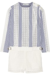 Sacai Luck Paneled Pinstriped And Eyelet Cotton Playsuit Blue