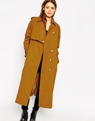 Asos Mac In Midi Length With Storm Flap Detail Tobacco