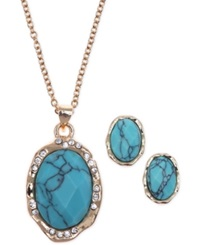 Jones New York Gold Tone Reconstituted Turquoise And Crystal Jewelry Set