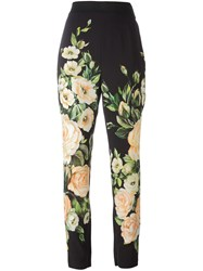Dolce And Gabbana Rose Print Trousers Black