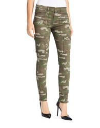 William Rast Mid Rise Utility Camouflage Skinny Cargo Pants Green Camo