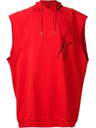 Raf Simons Space Patch Sleeveless Hoodie Red