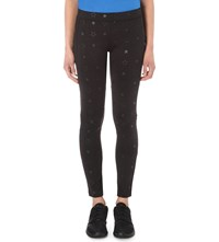 The Kooples Star Print Stretch Jersey Leggings Black