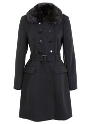 Miss Selfridge Belted Military Coat Dark Grey