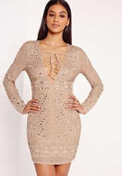 Missguided Premium Embellished Bodycon Dress Nude Grey
