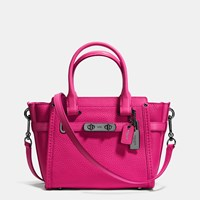 Coach Swagger 21 Carryall In Pebble Leather Dark Gunmetal Cerise