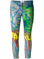 Faith Connexion Graffiti Print Skinny Jeans Blue
