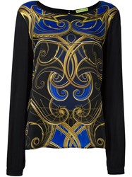 Versace Jeans Printed Top Black