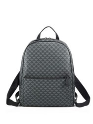Giorgio Armani Medium Signature Logo Leather Backpack Grey