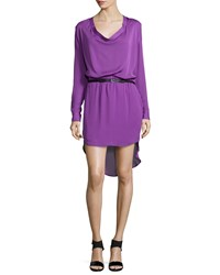 Haute Hippie Long Sleeve Cowl Neck Shirtdress Orchid