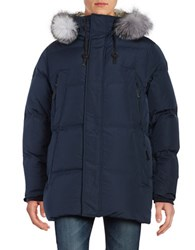 Andrew Marc New York Freezer Down Filled Parka Blue Ink