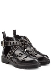Mcq By Alexander Mcqueen Leather Dalston Cut Out Studded Ankle Boots Black