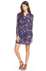 Sun Shadow Floral Print Woven Shirtdress Navy Peacoat Floral Prnt