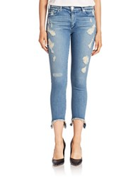 True Religion Distressed Cropped Skinny Jeans Destroyed Gypset Blue
