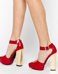 Yes Orion Platform Ankle Strap Heeled Shoes Redboxleather