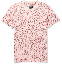 Christopher Raeburn Slim Fit Shark Print Cotton Jersey T Shirt Red