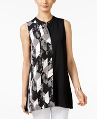 Alfani Printed Colorblocked Top Only At Macy's Faded Angle Black White