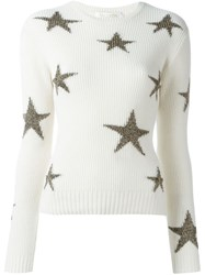 Valentino Ribbed Glitter Star Jumper Nude And Neutrals