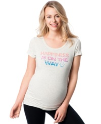 Motherhood Maternity Graphic Jersey Knit Tee Grey