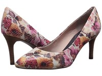 Rockport Total Motion 75Mm Pointy Toe Pump Pink Floral Leather High Heels Multi