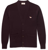 Maison Kitsune Textured Knit Panelled Merino Wool Cardigan Burgundy