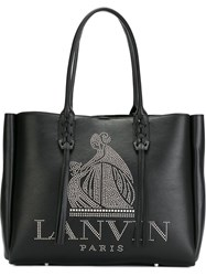 Lanvin Studded Logo Fringed Tote Black