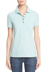Women's Burberry Brit Check Trim Pique Polo Shirt Light Opal Green