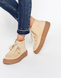 Asos Anyan Creeper Lace Up Boots Sand Beige