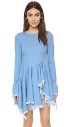 Marques Almeida Denim Dress With Flared Skirt Stretchy Light Blue